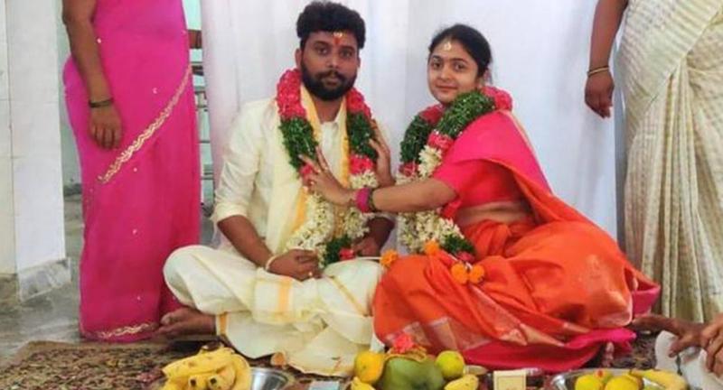 ▲希曼斯與阿凡蒂在今年 6 月成婚。原本是段幸福良緣,卻因長輩執著於種姓制度,而以悲劇收場。(圖/翻攝自 The Hindu )