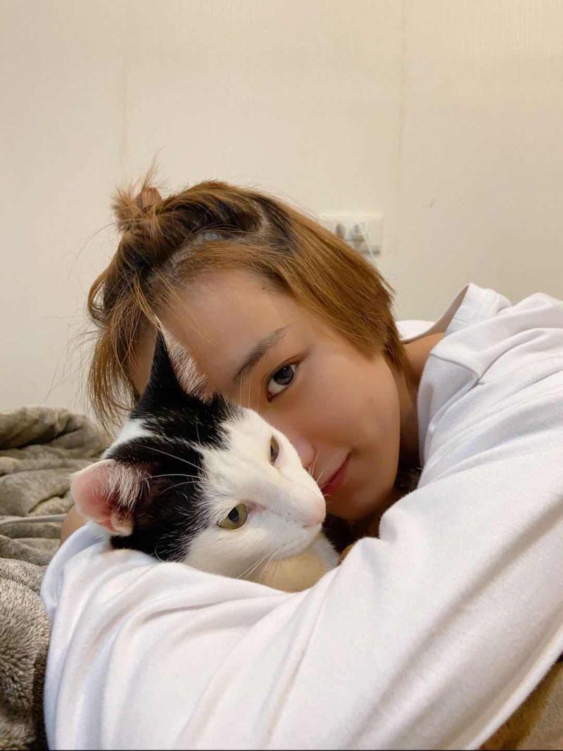 ▲陳加恩與愛貓「豆皮」。(圖