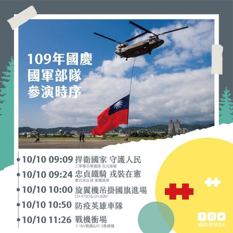 ▲國防部公布國慶當天國軍部隊參演時序。(圖/國防部發言人臉書)