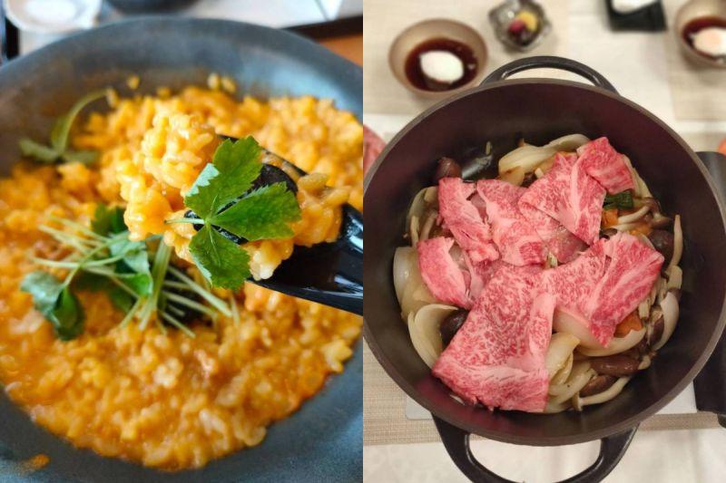 ▲海膽鍋用了上百顆左右的海膽熬煮成海膽鍋湯(左),淡路牛壽喜燒(右)。(圖/品牌提供)