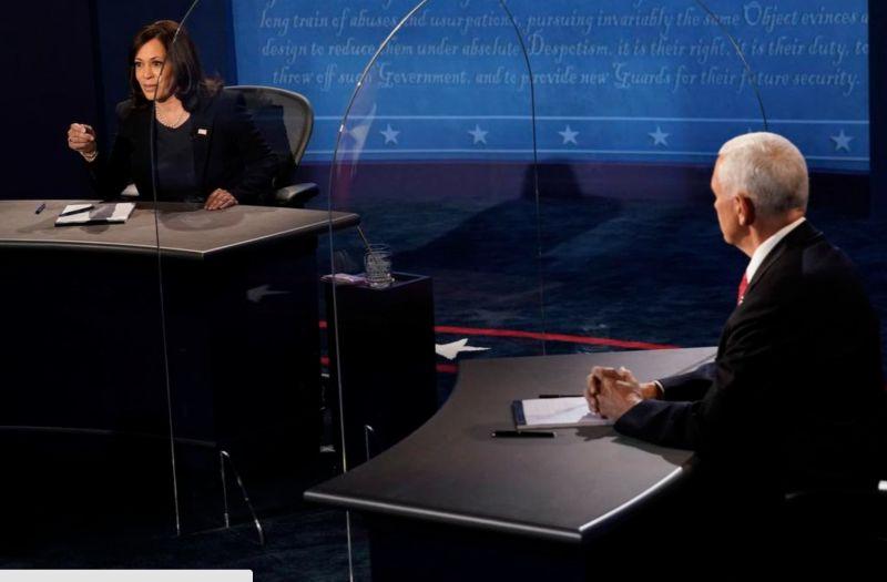 美副總統辯論拿壓克力板防疫  專家:恐適得其反