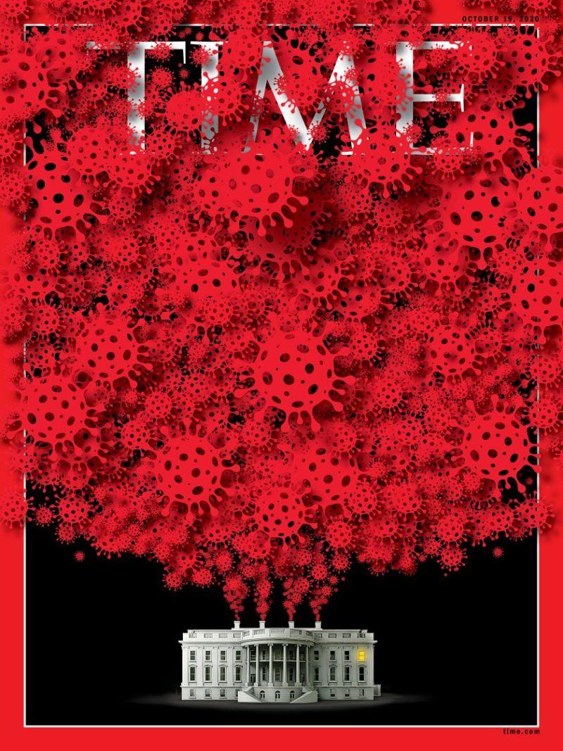 諷刺川普得病!《時代》最新<b>封面</b> 白宮噴出大量新冠病毒