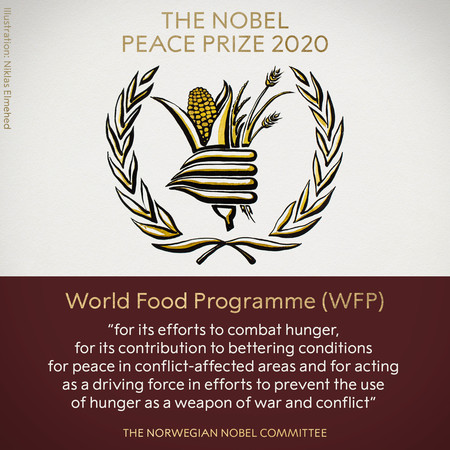 ▲2020年諾貝爾和平獎得主由「世界糧食計劃署」獲殊榮。(圖/翻攝Twitter@NobelPrize)