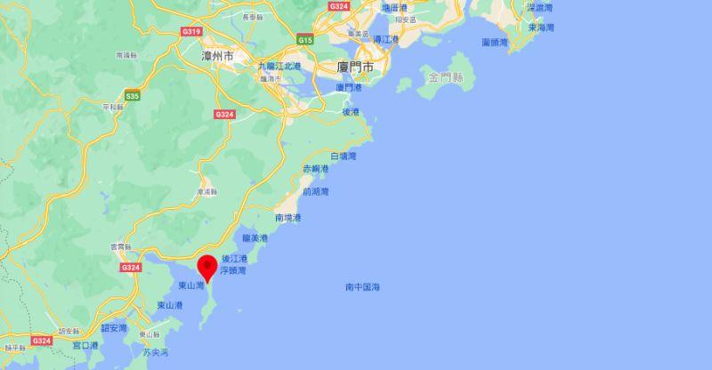 ▲中國解放軍將在古雷半島東側海域進行實彈射擊。紅色座標為古雷半島。(圖/翻攝自GoogleMap)