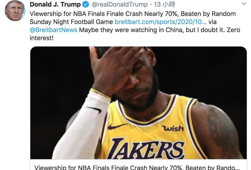 ▲川普發推酸NBA收視率低迷。(圖/翻攝自川普推特)