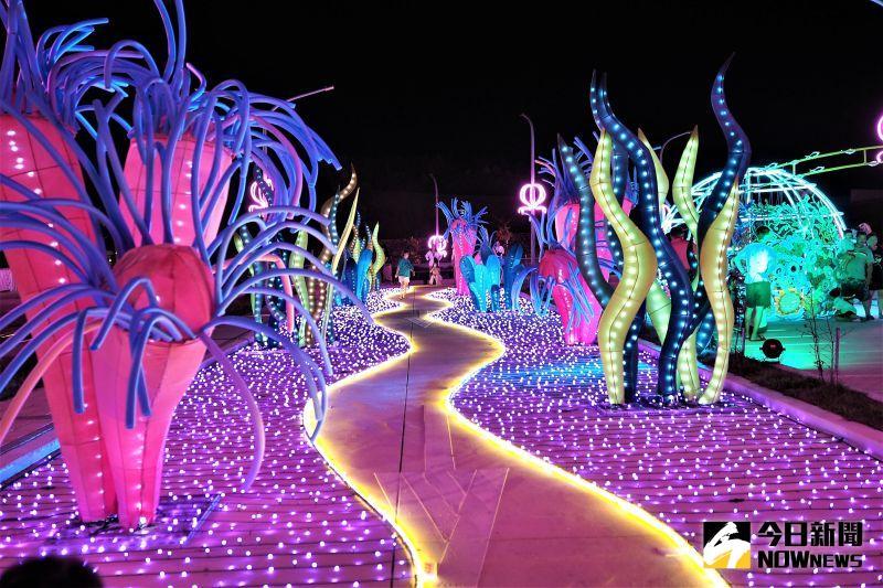▲澎湖燈光節的720度VR互動區,將拍攝雲端展示主題燈區、藝術燈區及互動燈區,在燈光的點綴之下綻放了與眾不同的光芒。(圖/記者張塵攝,2020.10.14)