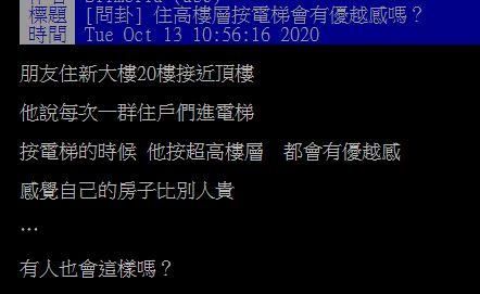 ▲網友在PTT討論「住高樓層按電梯會有優越感嗎?」(圖/翻攝自PTT)
