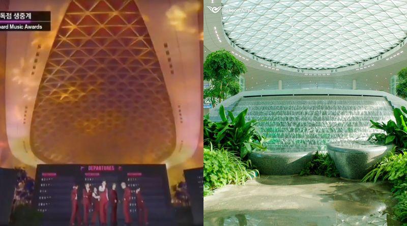 ▲BTS在仁川機場第二航廈的造型水池上表演。(圖/Mnet
