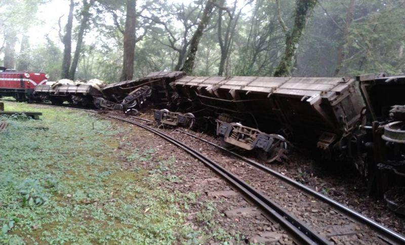 阿里山森林鐵路載運廢棄道碴的工程車,今(15)日中午1點,在阿里山與神木站接近神木站時發生出軌事故。(圖/林鐵及文資處提供)