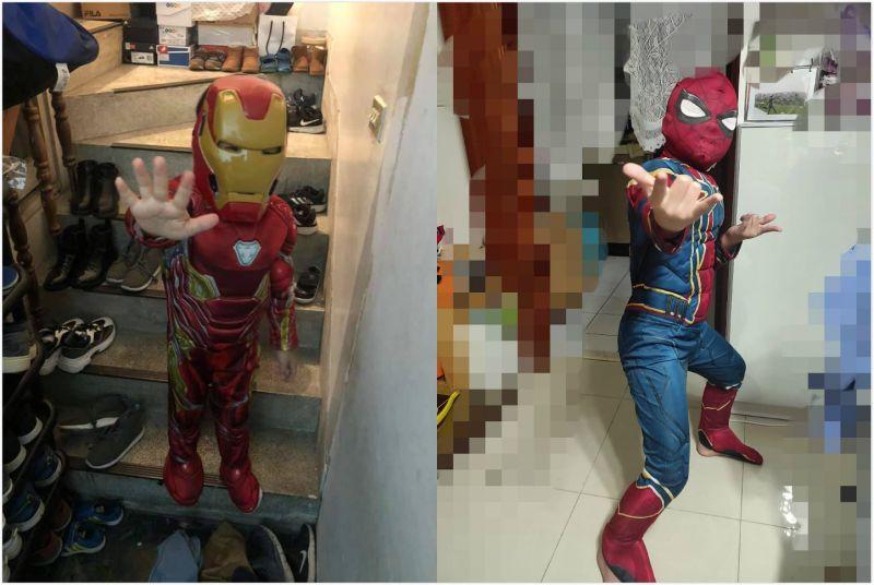 ▲原PO讓孩子穿上鋼鐵人套裝,擺出鋼鐵人的招牌手勢;也有網友分享蜘蛛人款。(圖/翻攝自《Costco好市多商品經驗老實說》)