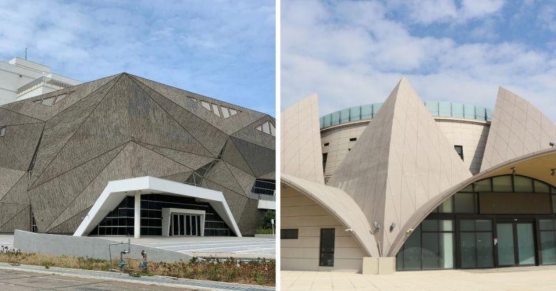 ▲清水區的海洋生態館(左)、大安港媽祖文化園區