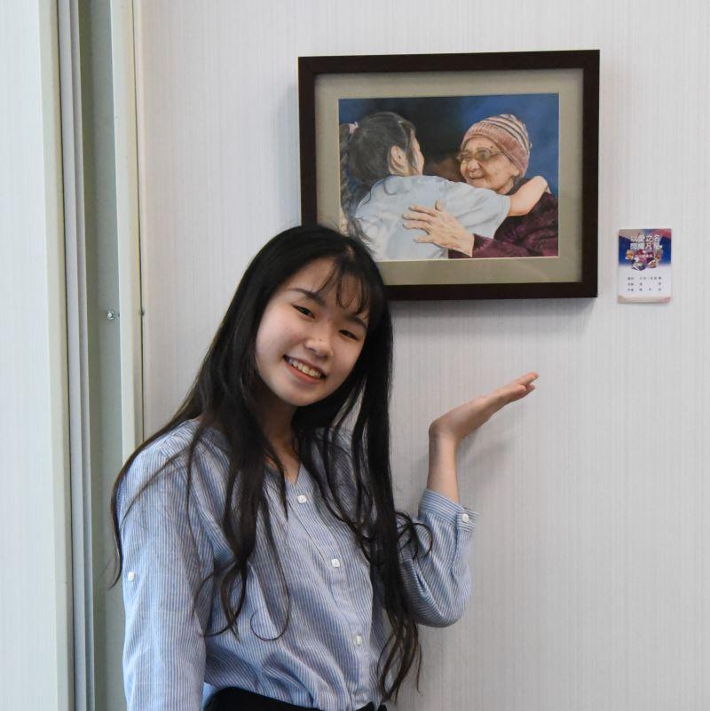 ▲這幅「感恩」作品,是高二女生陳宇姿用畫筆,記錄人世間溫暖動人的鏡頭。(圖/基金會提供)