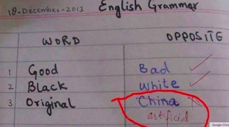 ▲一位印度學生寫英文作業時,將Original(原創的)英文相反詞寫上China,引發網友熱議。(圖/翻攝推特)