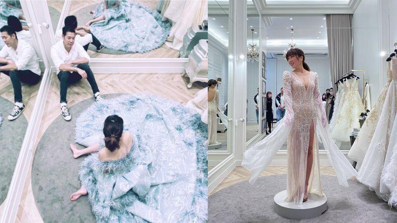 <b>KIMIKO</b>婚禮戰袍「上下齊開」 新郎反應閃瞎全網