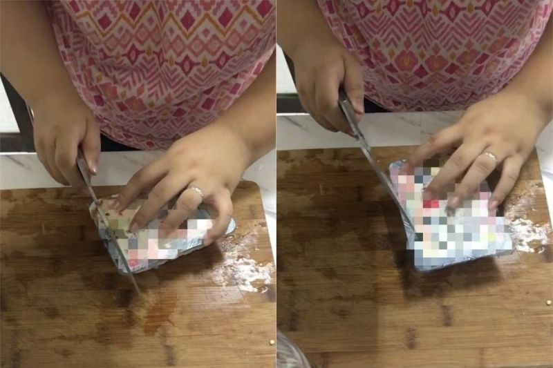 ▲網友分享,在封膜的長寬兩側各劃一刀,就能輕易將封膜從邊角撕開。(圖/翻攝自《我愛全聯-好物老實説》