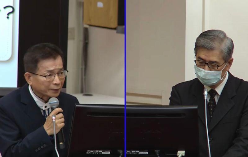 ▲南韓傳出注射流感疫苗致死,國民黨立委賴士葆(左)納強制險,若致死可理賠,不過,金管會主委黃天牧(右)表示「要研究一下」。(圖/擷取自立法院議事轉播)