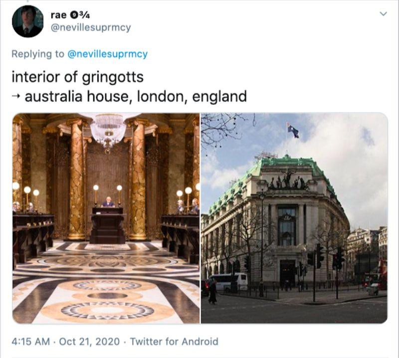 ▲另一位外國網友表示裝潢讓他們想到電影裡的古靈閣巫師銀行。(圖/擷取自推特)
