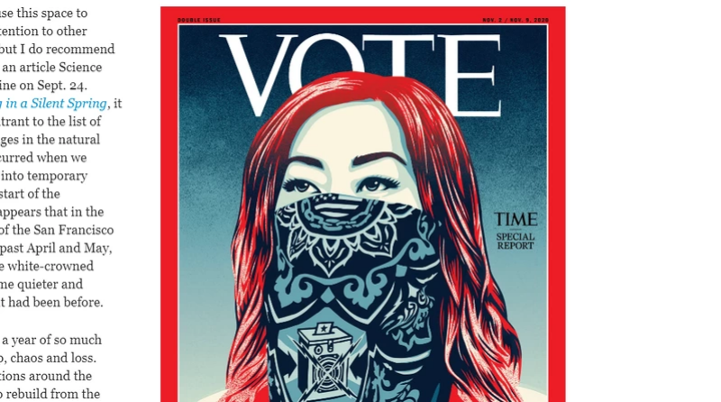 <b>時代雜誌</b>鼓勵投票 封面刊名首度換成VOTE