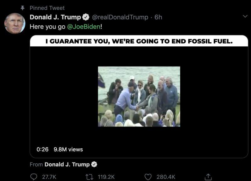 ▲川普在推特發文打臉拜登。(圖/Donald