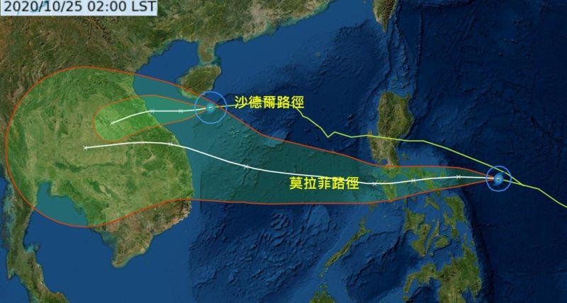 ▲「沙德爾」在海南島南方近海,偏西朝越南海前進;第18號颱風「莫拉菲」於今日2時形成,在菲律賓東方海面,向菲律賓中部前進,未來進入南海,其路徑明顯較「沙德爾」偏南。(圖/翻攝自《三立準氣象·