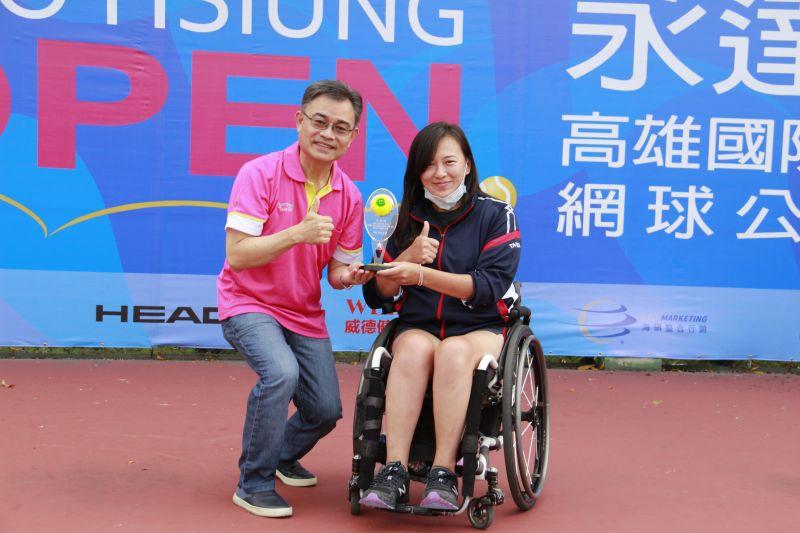 ▲永達盃國際輪網公開賽在高雄輪椅夢公園舉行,女單則由台灣女將吳宜珊,三戰全勝封后。(圖/官方提供)