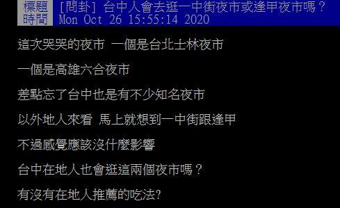 ▲有網友在PTT提問「台中人會去逛一中街夜市或逢甲夜市嗎?」掀起討論。(圖/翻攝自PTT)