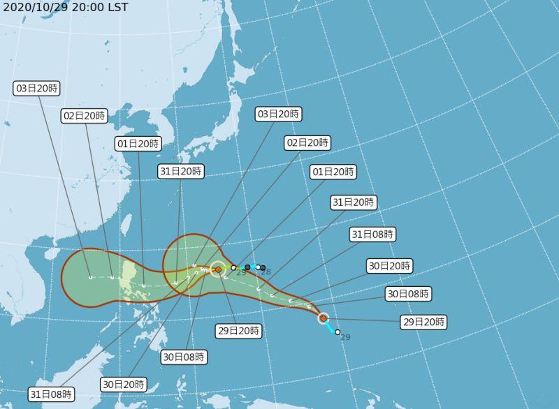 ▲今年第20號颱風「閃電」生成。(圖/氣象局提供)