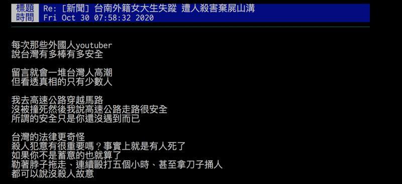 ▲台南驚傳隨機殺人,網友認為「所謂的台灣安全只是你還沒遇到而已」,引發熱議。(圖/翻攝自批踢踢)