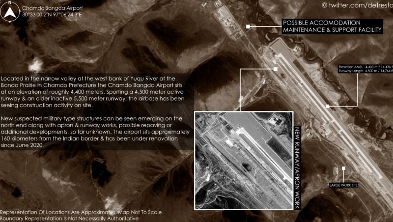 ▲外媒引述衛星影像報導稱,中國疑似正在擴建西藏昌都邦達機場的停機坪和跑道等,距離近日頻頻發生邊境衝突的印度只有約 160 公里遠。。(圖/翻攝自 @detresfa 推特)