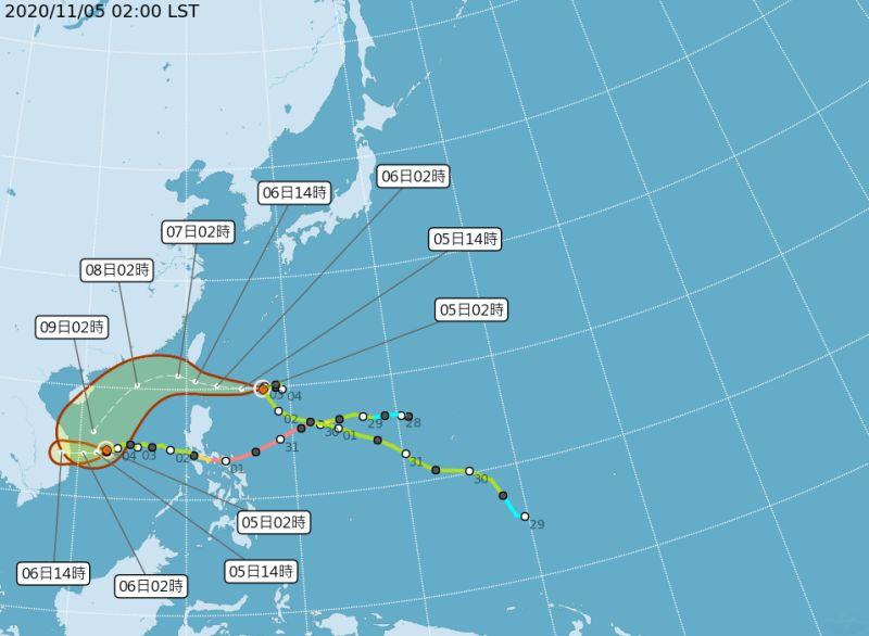 ▲輕度颱風「閃電」今晨2時中心位置在鵝鑾鼻東南東方730公里之海面上,氣象局於8點半發布海警。(圖/氣象局)