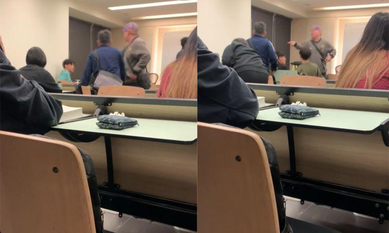 ▲兩名中年男子對著學生怒罵。(圖/翻攝自《靠北文化 Cow Bei PCCU》)
