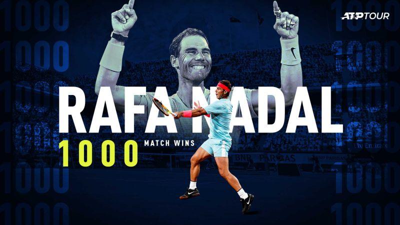 ▲「西班牙蠻牛」Rafael Nadal在巴黎大師賽收下生涯1000場職業勝利,成為史上第4人達成此壯舉的球員。(圖/取自ATP Tour推特)