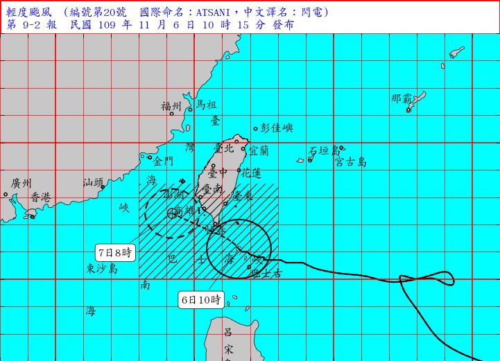▲輕度颱風「閃電」今( 6 )日 10時 的中心位置在鵝鑾鼻的東南方約 120 公里之處,其暴風圈逐漸接觸恆春半島陸地。(圖/氣象局)