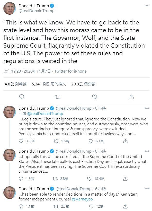 ▲川普在推特上大罵賓州官方。(圖/擷取自川普推特)