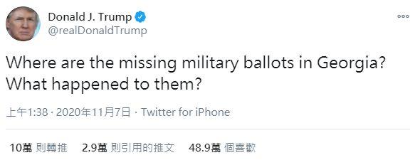 ▲川普在推特上抱怨喬治亞州的軍人票怎麼不見了。(圖/擷取自川普推特)