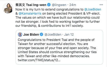▲總統蔡英文在推特祝賀拜登當選美國總統。(圖/翻攝蔡英文推特)