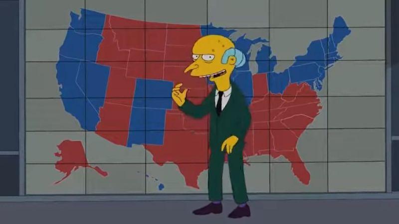 ▲《辛普森家族》2012年一集節目中,有關歐巴馬對上羅姆尼的選舉結果,整體投票趨勢和今年的結果極為相似(除了亞利桑那州)。(圖/翻攝自20世紀福斯)