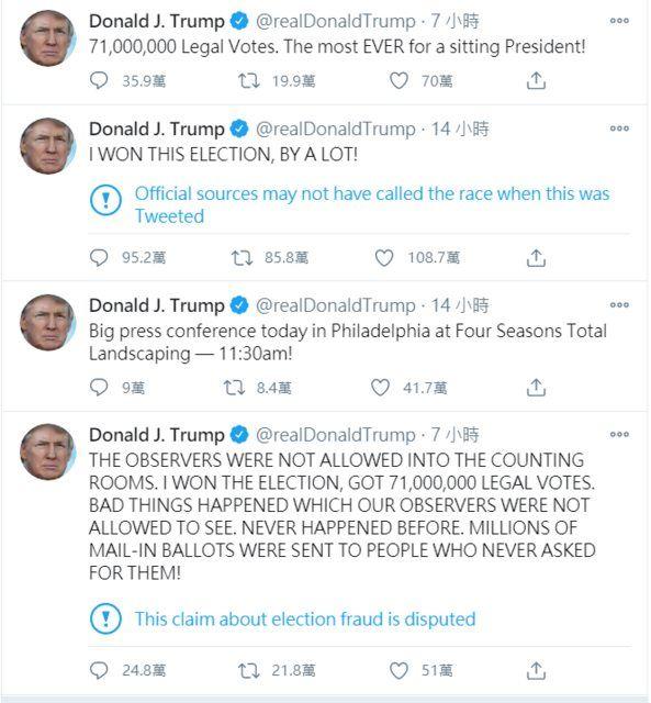 ▲網友發現川普的推特文章都被附上警語。(圖/翻攝川普推特)