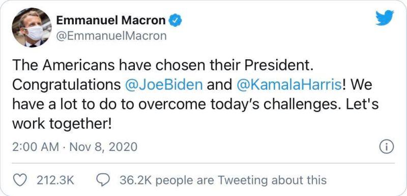 ▲法國總統馬克宏的祝賀貼文。 (圖/翻攝自王定宇臉書)