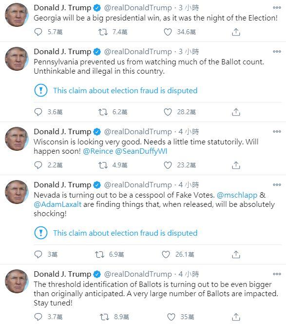 ▲川普在推特上連發推文,聲稱有幾個州存在選舉舞弊。(圖/擷取自川普推特)
