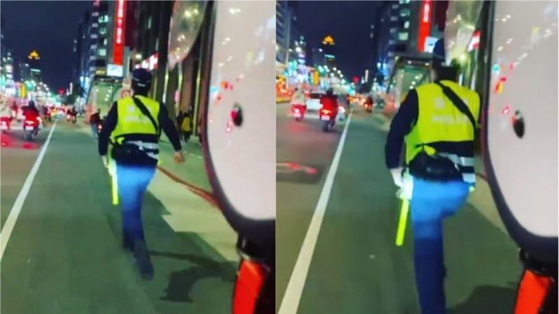 熱血哥騎車載警!街頭「<b>追逐</b>飛車」 全場狂讚:人生解鎖