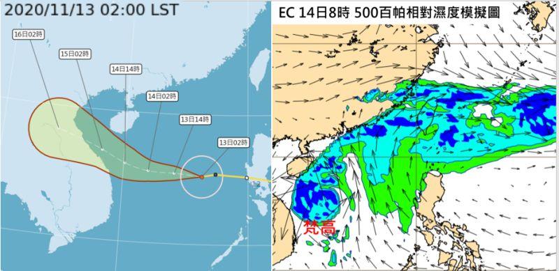 ▲最新中央氣象局「路徑潛勢預測圖」顯示,颱風「梵高」其中心在南海,朝越南推進;最新歐洲中期預報中心(ECMWF)模式模擬顯示,今、明北部、東半部本有迎風面的降水。(合成圖/翻攝自《三立準氣象·