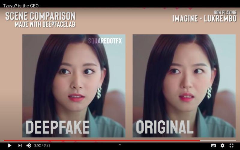▲▼姜漢娜(下圖右)的臉被換成子瑜。(圖/YouTube)