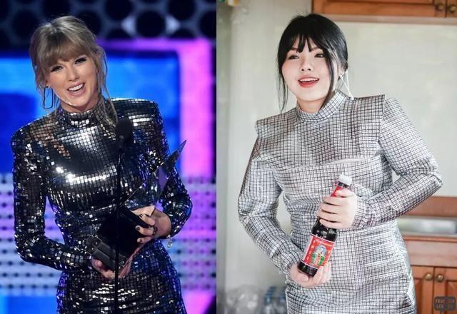 ▲歌手泰勒絲在頒獎典禮上穿著亮片裝致詞的一幕也難不倒她,只要在「鋁箔紙」畫上網格剪裁成服飾,手上隨便拿瓶醬油就能完美辦到。(圖/翻攝自IG)