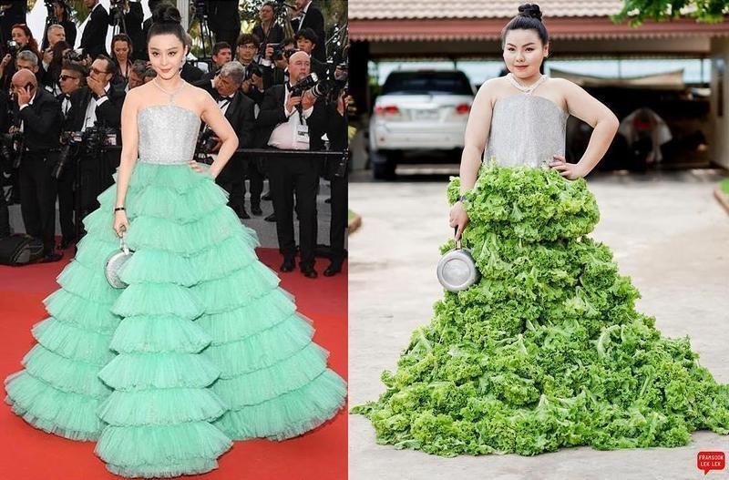 ▲范冰冰走紅毯穿著的裙裝綠色澎澎裙擺的部分也被她用生菜取代,手上拿著的銀色立體圓包包則被她用鍋子替代。(圖/翻攝自IG)