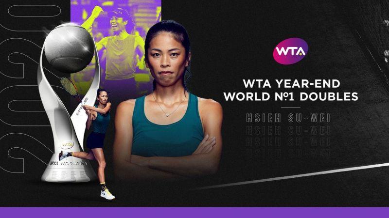 ▲WTA今(17)日公布2020年終女子單、雙打排名,我國網球一姊謝淑薇榮登女雙年終球后。(圖/取自WTA官網)