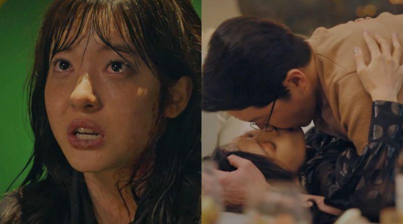 ▲劇中,趙秀敏(左)握有嚴基俊跟金素妍的偷情證據,最終被推下樓慘死。(圖/翻攝愛奇藝)