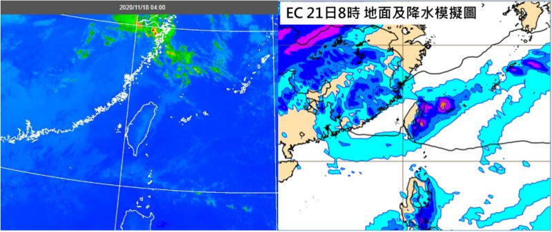 ▲吳德榮指出,周(20日)五晚至周六有一小股東北風南下,北海岸、北部山區及東北部轉有局部雨,大台北及東半部的降雨機率提高。(圖/翻攝自《三立準氣象·