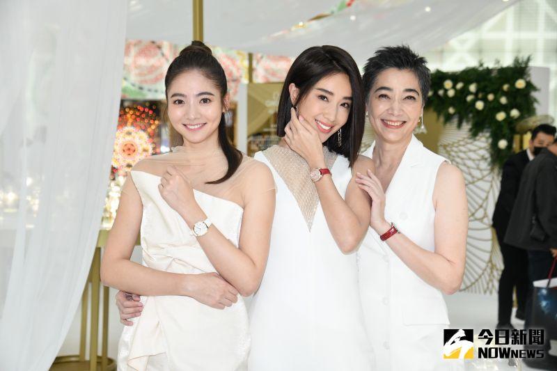 ▲謝沛恩(左起)、隋棠、賴佩霞同框替鐘錶品牌站台。(圖/記者林柏年攝)