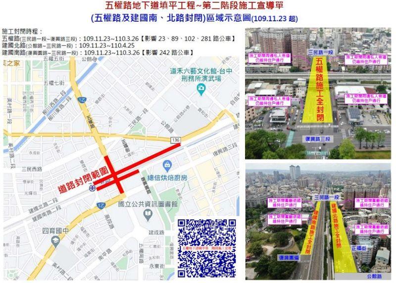 中市五權路地下道填平工程 23日第二階段<b>封路</b>